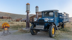 Old Dodge Truck (saganorth2000) Tags: exterior building truck bodie sky bodiestatehistoricpark sign dawn california gaspump
