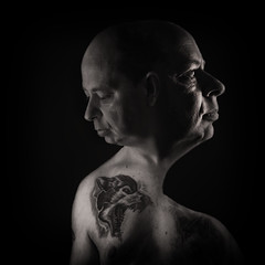 Self Portrait (rockindave1) Tags: selfportrait face arty tattoo nose eyes mouth blackwhite black skin adobephotoshopcs5 dxoopticspro11 canoneos1dsmk3