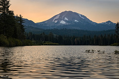 Early Morning Sunrise (NormFox) Tags: california forest lake landscape lassen morning mountain outdoors park pine sky snow sunrise trees volcano water