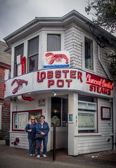 Sharon and Cindy at The Lobster Pot (donnieking1811) Tags: massachusetts provincetown lobsterpot restaurant people architecture building signs lobsters exterior outdoors tree sky arrow menus canon 60d lightroom
