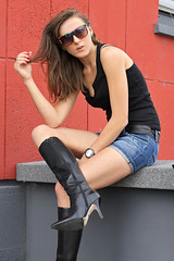 Lena 76 (The Booted Cat) Tags: sexy model girl woman leather jacket jeans denim hotpants legs boots highheels heels