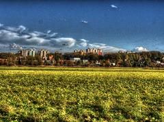 HDR cityscape (TravelersOfOnePercent) Tags: hdr bracketing nikon nikonp1000 cityscape field ostrava test october autumn clouds lights shadows contrast nikoncoolpix výškovice