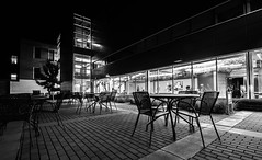 Empty Chairs BW (cmctaggs) Tags: northfield minnesota mn carleton college weitz center for creativity creative arts night time tripod student nikon tokina 11 16 architecture monochrome bw amateur fall autumn d7100 photography