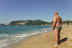 2018 09 30 PJ at St George's North beach (pj's memories) Tags: corfu stgeorgesbaynorth beach seaside speedos trunks tanthru kiniki