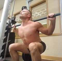 squats (ddman_70) Tags: shirtless pecs abs muscle gym workout shortshorts squats