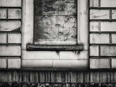 20180825-0015-Edit (www.cjo.info) Tags: bw mzuiko m43 m43mount microfourthirds nikcollection olympus olympusmzuikodigital17mmf18 olympuspenf silverefexpro silverefexpro2 zuiko architecture blackwhite blackandwhite blankwindow building classical digital monochrome neoclassical oldbuilding stone stonework window