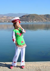 Chinese Tourist - Trip to Island on the Lake 19 (hapsnaps) Tags: hapsnaps 2027 winter china yunnanprovince islandonthelake xiaguan dali tourist traditionaldress baicostume lake hills water lakeerhai