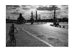 Bloodline (Thomas Listl) Tags: thomaslistl blackandwhite biancoenegro noiretblanc monochrome paris france bike bicycle sky clouds placedelaconcorde place square street urban mood frenchrevolution eiffeltower