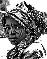 African makeup (gerard eder) Tags: world travel reise viajes africa westafrica westernafrica nigeria northernnigeria children child people peopleoftheworld girl outdoor portrait blackandwhite blackwhite blancoynegro bw monochrome whiteblack blanconegro