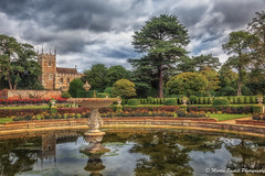 Italian garden and church at Belton House (martin.baskill) Tags: beltonpark church fountain reflection trees sky landscape colour lincolnshire grantham park tree water