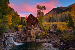 Autumnal Palette (pdxsafariguy) Tags: autumn crystalmill crystal colorado usa mill stream river mountains water landscape yellow trees waterfall mining aspen creek scenic forest building wooden historic powerhouse abandoned sunset sky clouds tomschwabel