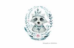 LOVE YOU COON, Print Patch zum aufbügeln (patchmonkeys) Tags: patch bügelbild comic style applikation aufbügler print druck design hund coon waschbär transfer