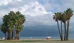 Tarde de Playa en Almuñécar (Tomás Hornos) Tags: nubes clouds playa beach almuñécar seascape landscape storm rain arena mar sea mediterráneo mediterranean palmeras d3200