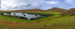 The crater of Rano Raraku / Кратер Рано Рараку (Vladimir Zhdanov) Tags: travel chile polynesia rapanui easterisland ranoraraku volcano landscape sky cloud water field grass lake tree nature