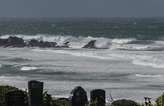 Rough seas from the cemetery (Ian@NZFlickr) Tags: cemetery andersons bay lawn south pacific waves whitecaps dunedin otago nz
