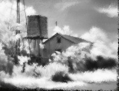 Old house, windmill. Marathon, Texas. (Richard Denney) Tags: marathon texas windmill house abandoned ruins old monochrome blackandwhite texture impressionistic painterly