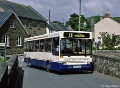 M419 CCV Western National 419 Dennis Dart with Plaxton Pointer body at St Erth May97 (Copy) (focus- transport) Tags: plaxton pointer bodywork dennis dart mini slf reg's pmt berks bucks the bee line beeline dunn london buses jaronda travel east herts county council kh doyle zak's thames brighton western national yorkshire motor services truronian dennis's trent marshalls glasgow citybus lothian aston