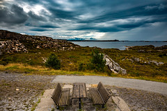 16-8-18 (8) (torivonglory) Tags: nature landscape norway scandinavia ocean water rocks mountains view travel clouds rain sun moss green blue plants flowers averøy provinzmøreogromsdal norwegen no bench table picnic cloudsstormssunsetssunrises