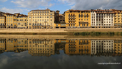 Mirror image (Jan Kranendonk) Tags: florence firenze italy italian europe buildings houses architecture rennaissance sunny landmark sky blue stone medieval river arno water reflection evening mirror sunlight clouds quay waterfront golden ngc