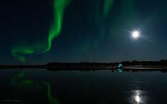 wispy (Lisa Ouellette) Tags: night yellowknife reflection stars aurora moon water ididnotsleephere green northernlights