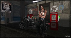Gas station / Station-essence / Gasolinera (SL = Retogay) Tags: gay male mesh black gas station motorbike road chaps vest helmet signature secondlife leather necklace tattoo boots pump