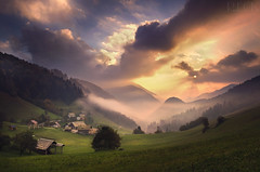 Spodnja Sorica Slovenia (Russell Eck) Tags: spodnja sorica slovenia mountain town village nature wilderness landscape sunrise beauty beautiful fog clouds russell eck travel morning amazing ivan grohar europe