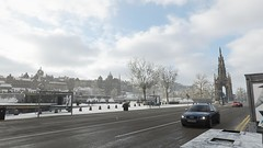 Winter In Edinburgh (alexandriabrangwin) Tags: alexandriabrangwin first life forzahorizon4 xbox one edinburgh england scotland wales city centre winter snow ice audi s4 driving people gathered cathederal sidewalk side rubbish bin bus stop uk dead trees old buildings historic
