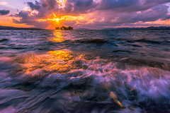 sunset 1657 (junjiaoyama) Tags: japan sunset sky light cloud weather landscape yellow orange purple contrast color lake island water nature autumn fall wave sun reflection