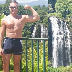 flex (ddman_70) Tags: shirtless pecs abs muscle hiking waterfalls flexing