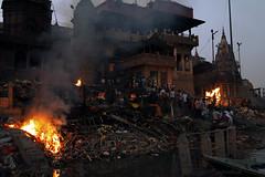Manikarnika Ghat in Varanasi (me suprakash) Tags: varanasi benaras india nikond700 nikon2470mmf28 burningghat manikarnikaghat cremation pyre hinduritual moksha death lastrites