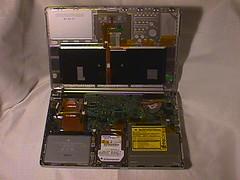 PowerBook G4: internal (DigitalColophon) Tags: apple powerbookg4 mainboard motherboard battery harddrive opticaldrive laptop