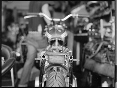 In Progress (robblr) Tags: honda cb450 brattracker builtnotbought analog blackandwhite 645 robbhohmann hasselblad maryland motorcycle brat chop 500cm grain mediumformat film custom 80mm ƒ28 trix kodak rodinal