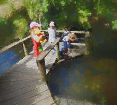 Looking for the Pooh Sticks (Steve Taylor (Photography)) Tags: poohbear walkway hat children winnie cap pier monet river child girl man newzealand nz southisland canterbury christchurch foliage trees leaves texture spring sunny