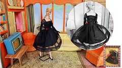 CLONE COUTURE (ModBarbieLover) Tags: 1950s 1960s 1964 barbie clone fashion vintage couture dior balenciaga midcentury cocktail dress doll mattel black lbd red rose blonde swirl ponytail