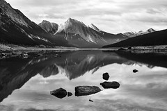 Medicine Lake, Jasper NP (WherezJeff) Tags: jasper alberta canada rockies canadian blackandwhite landscape dramatic noir jaspernationalpark