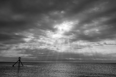 Beacon (Ron and Co.) Tags: sky clouds sun rays sea blackwhite mono monochrome bw beacon storm sluice aldeburgh