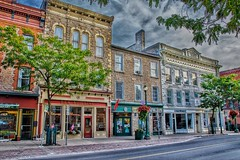 Brookville Ontario - Canada - King Street - Commercial District (Onasill ~ Bill Badzo - 56 Million Views - Thank Yo) Tags: harding block 1904 jamesharding victor kincaid drug store 45 king street st bank nova scotia ross s carrick english china shop flower planters commercial building cornice tin restored onasill sky clouds sl1 canon eos rebel sigma macro 18250mm lens revolution british cafe leeds granville county tree architecture fronts dlk d l k gaits bakery frame window financial district