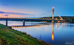 Lumberjack Candle Bridge, Rovaniemi, Finland (AdelheidS Photography) Tags: adelheidsphotography adelehidspictures adelheidsmitt finland suomi rovaniemi kemijoki lumberjackcandlebridge reflection river lapland jätkänkynttilä bridge jätkänkynttiläbridge bluehour