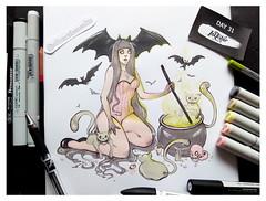 InkTober 2018 - Day 31. Happy Halloween! (•TRINITY•) Tags: inktober inktober2018 illustration artwork art originalart halloween witch инктобер инктобер2018 иллюстрация ведьма