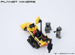 02_Planet_miners (LegoMathijs) Tags: lego moc legomathijs space scifi planet miners mining miner astronaut yellow drill shovel grey radar dish