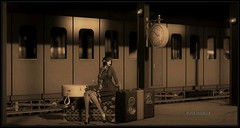 Passing Time (Moxxie Kalinakova) Tags: sepia retro vintage 1920s brunette smoking travel traveling train moxxie kalinakova