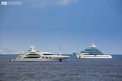 Andreas L - 60m - Benetti & Jubilee - 110m - Oceanco (Raphaël Belly Photography) Tags: rb raphaël monaco raphael belly photographie photography yacht boat bateau superyacht my yachts ship ships vessel vessels sea motor mer m meters meter andreas l 60m 60 benetti white blanc bianco imo 1009510 mmsi 235062658 jubilee 110m 110 oceanco bianca blanche blue bleu bleue turquoise 1012610 319112300