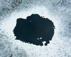 Hole. (laurilehtophotography) Tags: suomi finland jyväskylä vuorilampi nature snow ice water pond trees forest mavic pro fc220 drone above aerial photo autumn fall syksy metsä lampi