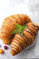 Fresh tasty croissants with berries on white stone background (lyule4ik) Tags: croissant breakfast closeup fresh pastry bread food roll background bake bakery cuisine delicious french golden meal snack tasty brown bun buttery continental table wooden sweet butter cafe color crust dessert freshness gold macro morning eat fat yummy board jam napkin orange coffee plate wood buttered dough object traditionally fruit