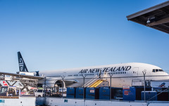 air new zealand flight nz7 in turnaround for auckland (pbo31) Tags: bayarea california nikon d810 color september 2018 fall pbo31 boury sanmateocounty sanbruno sanfranciscointernational sfo airport aviation flight airline plane fly travel boeing 777 auckland airnewzealand blue
