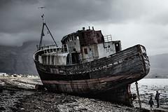 Time to go... (amcgdesigns) Tags: andrewmcgavin eos7dmk2 sigma1850mmf28 lochaber local fortwilliam old oldboat mvdayspring wreck decay decayed figureinlandscape scotland scottishlandscape