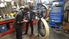 Josh and colleague adjusting the bottom bracket