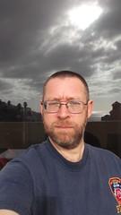 DSCF1339 (rugby#9) Tags: complex holiday clublacosta monterey apartment costaadeje tenerife canaries canaryislands fdny fdnyshirt fdnytshirt tshirt bluetshirt blueshirt writing portrait reflection doors cloud clouds