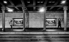 Point of impact. (Mister G.C.) Tags: blackandwhite bw sonya6000 sonyalpha6000 mirrorless streetphotography urbanphotography candid street monochrome photograph image people tunnel underpass subway framed framing girders bricks fullstride unposed urban town city sony a6000 35mmf18 sel35f18 35mm primelens schwarzweiss strassenfotografie hannover niedersachsen lowersaxony germany deutschland europe