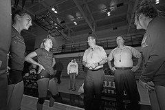 IMG_7080 (SJH Foto) Tags: girls college volleyball millersville west chester university mu canon 1018 f4556 stm superwide lens pregame ceremonies ref referee captains coin toss black white blackandwhite bw monocolour